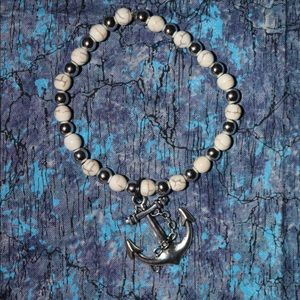 White and silver Anchor Bracelet